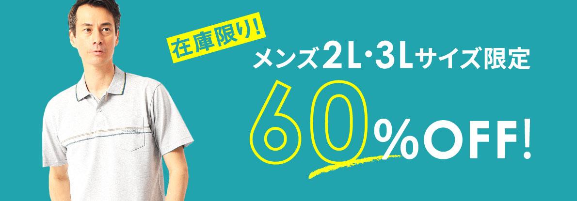 【在庫限り!】メンズ2L・3Lサイズ限定60%OFF!